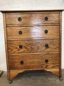 Oak four drawer chest of drawers on castors, approx 90cm x 44cm x 110cm