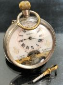 French Pocket Watch: Open faced pocket watch by ANCRE, 8 day (8 Jours) white face with exposed
