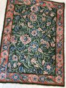Kashmiri hand-stitched wool chain rug, approx 88cm x 62cm