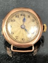 9ct Gold watch A/F total weight approx 8g winds and runs