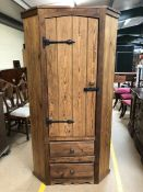 Large pine corner unit, with cupboard and two drawers under, approx 182cm tall x 67cm deep