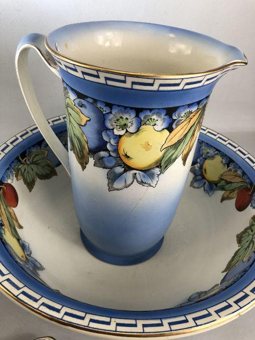 Dressing table set comprising jug, bowl, tray, pots, vase etc with colourful fruit design (A/F) - Bild 2 aus 6