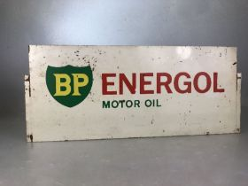 BP Energol Motor Oil double sided vintage advertising sign, approx 60cm x 25cm (A/F)