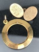 10ct Gold cufflink and a 9ct gold mount for a pendant or coin approx 6.5g