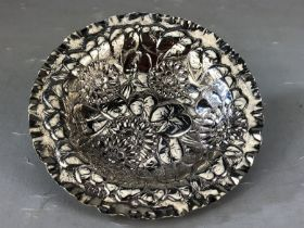 Embossed Victorian Silver pin tray of flowers Hllmarked for London 1896 by maker WCC (approx 141mm