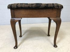 Upholstered piano stool on Queen Anne legs