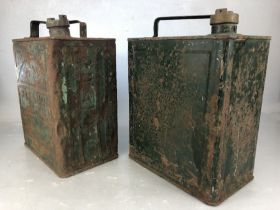 Vintage Pratts green metal petrol can and a further unmarked vintage petrol can