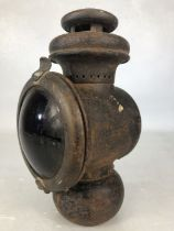 Original railway lamp with red glass lens