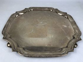 Hallmarked silver tray by Walker & Hall Sheffield approx 34cm square on ball feet and approx 1,128g