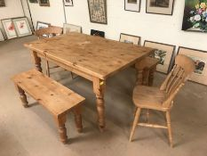 Pine kitchen farmhouse table on turned legs, approx 155cm x 90cm x 78cm tall, along with two low