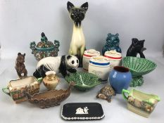 Collection of china and figurines to include Dartmouth Devon (Dartmouth Cat), Royal Doulton, Wade,