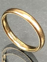 9ct Gold band size K approx 2.1g