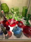 Collection of Glassware to include a Green Glass handpainted water jug and glasses