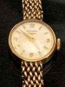 Longines 9ct Gold watch and strap (strap A/F) watch winds and runs total weight 20.6g