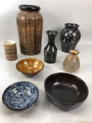 Collection of studio pottery, some signed to base, tallest vase approx 30cm in height