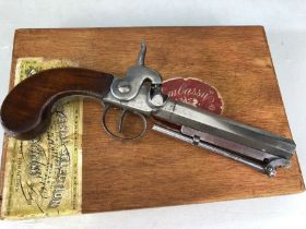 19th Century percussion belt pistol by Harvey of Plymouth: 4.5 inch Hexagonal barrel with captive