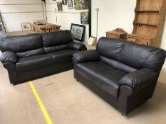 Two brown imitation leather sofas, the larger approx 186cm in length x 85cm deep