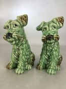Pair of Green Sylvac dogs model 1379 approx 20cm tall