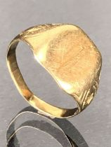 14ct signet Gold ring approx 2.6g size 'H'