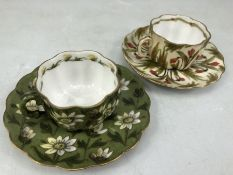Two hand painted Austrian cabinet cups, crown MZ to base of one