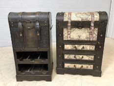 Modern drinks cabinet and a storage unit in the form of vintage trunks