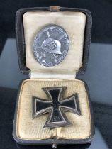 WW2 German 1939 Iron Cross in original box with an additional German badge