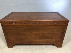 Large camphor wood chest with internal trays, approx 101cm x 50cm x 55cm tall