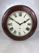 Mahogany cased wall clock / school clock by 'British Jerome Movements', approx 40cm in diameter