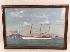 ANTONIO DE SIMONE (Italian, 1851 - 1907), Steam Yacht S.Y. Onora, Vesuvius to background, approx