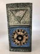 TROIKA rectangular shaped vase by Jane Fitzgerald with applied and incised decoration in blues and