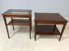 Glass topped occasional table with shelf under and a second occasional table with inlay and fluted