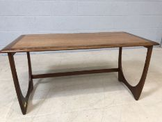 Mid Century single coffee table, approx 100cm x 50cm x 50cm tall