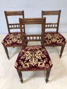 Three velvet upholstered chairs