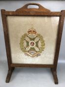 Military interest: Oak framed fire screen with embroidered 'Waterloo' panel, approx 69cm in height