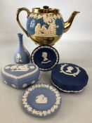 Small collection of Wedgwood Jasperware to include pin trays, lidded dishes and a bud vase along