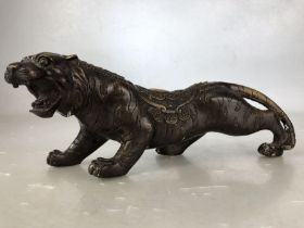 Chinese Broonzed wild cat with lucky coin decoration approx 25cm long