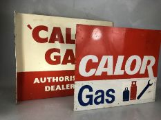 'Calor Gas Authorised Dealer' vintage double-sided metal advertising sign, approx 57cm x 46cm