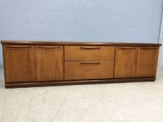 Low Mid Century sideboard by Meredew, approx 200cm x 46cm x 56cm tall