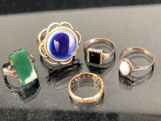 Collection of five rings set with various stones