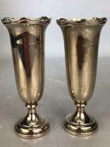 Good pair of Hallmarked silver Vases Birmingham maker E S Barnsley & Co (Edward Souter Barnsley)