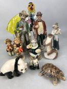 Collection of ceramic and glass figurines to include Hummel, Wade, Murano etc (approx 12 pieces)