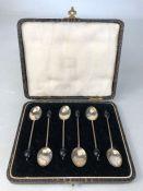 Set of Birmingham Hallmarked Six Silver coffee Spoons in presentation box