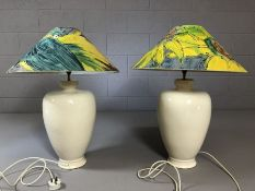 Pair of large crackle glazed lamps with hand-painted shades, approx 71cm in height