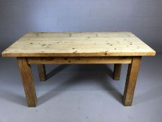 Chunky pine table on square legs, approx 75cm x 152cm x 78cm tall