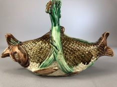 Antique majolica fish shaped porcelain basket, 14 cm high, 22cm long