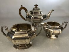 Silver London 1912 Hallmarked Octagonal stepped design Teaset by Hamilton & Co (teapot, Milk & sugar