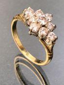 18ct Gold Diamond cluster ring set with nine diamonds size 'P'