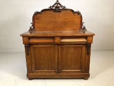 Mahogany and pine chiffonier with upstand, approx 123cm x 47cm x 151cm tall
