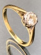 18ct Gold Diamond Solitaire ring approx 0.5ct size 'O'