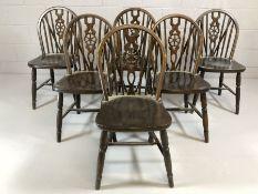 Set of six wheelback chairs on turned legs